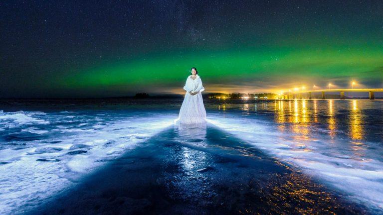 Bröllop bröllopsfoto norrsken vinter