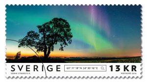 Frimärke Norrsken natur